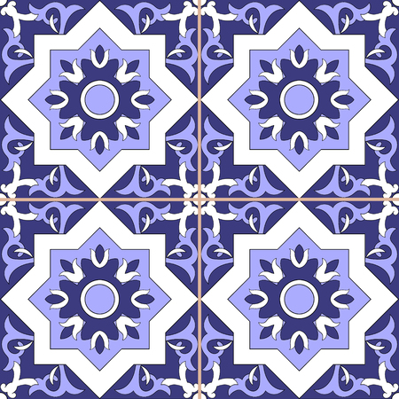 Tile floor - ornamental pattern seamless vector blue and white color. Azulejo, portuguese tiles, spanish, moroccan, talavera, turkish or delft dutch tiles design with flowers motifs.