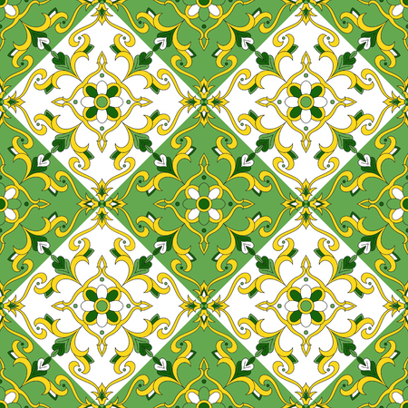 talavera: Floral tiles pattern vector seamless. Colorful summer greenery patchwork background. Tile floor square design elements. Portuguese azulejo, mexican talavera, spanish or italian majolica motifs.