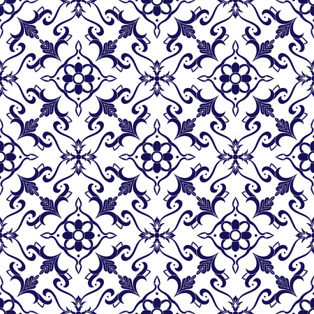 Italian tile pattern vector with blue and white ornaments. Portuguese azulejo, mexican talavera, delft dutch, spanish majolica or moroccan motifs. Tiled background for wallpaper, ceramic or fabric.