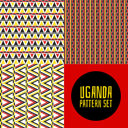 Set of tribal pattern vector seamless. Uganda African print design. Ethnics background for fabric, wallpaper, wrapping paper and boho card template.