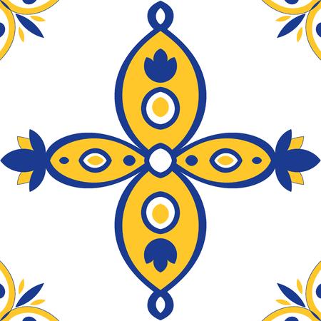 talavera: Tile pattern seamless blue, yellow and white colorful Azulejo portuguese tiles, moroccan or spanish ornaments. Illustration