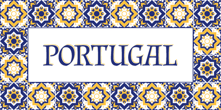 Portugal travel banner vector. Tourism typography design with azulejos tiles pattern frame.