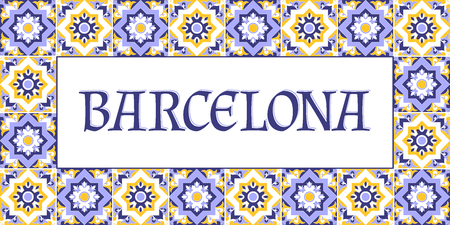 Barcelona travel banner vector. Tourism typography design with tiles pattern frame.