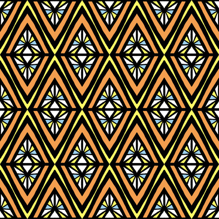 Summer tribal pattern vector seamless. Abstract geometric rhombus texture. Ethnic background print for african fabric, wallpaper, blanket, wrapping paper and boho card template.