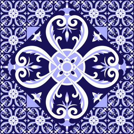 Spanish white blue tiles floor pattern vector with ceramic tiles. Big tile in center is framed in small. Background with portuguese azulejo, mexican talavera, delft dutch or italian majolica motifs. Illustration