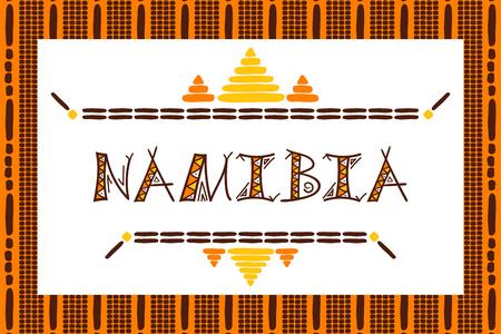 Namibië reizen vector banner. Tribal Afrikaanse illustratie. Toeristische typografie achtergrondontwerp voor souvenir kaart, sticker, label, magneet, briefkaart, stempel, mode t-shirt print of poster.