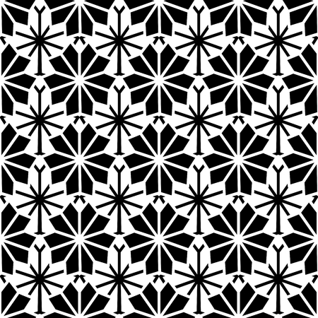 Minimal flower pattern vector. Modern floral black white background for fabric or wrapping paper.