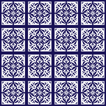 Floral pattern seamless vector blue and white color delft tiles design with flowers motifs. Illustration