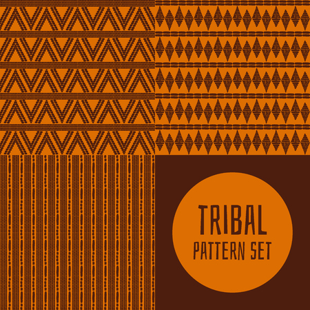 Collection of tribal ethnics background for fabric, wallpaper, wrapping paper, and card template seamless pattern vector illustration Illustration
