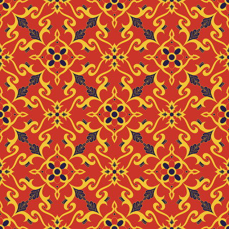 Spanish gold red motif diagonal tiled print for tablecloth, fabric, background or ceramic.