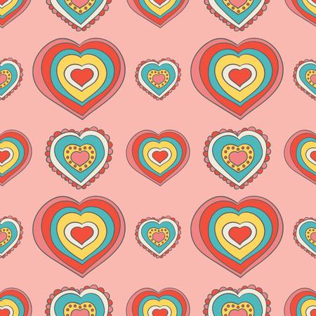 Hart patroon mode meisje afdrukken op roze achtergrondontwerp voor Valentijnsdag kaarten, meisjes behang of zachte vrouwelijke inpakpapier. Stock Illustratie