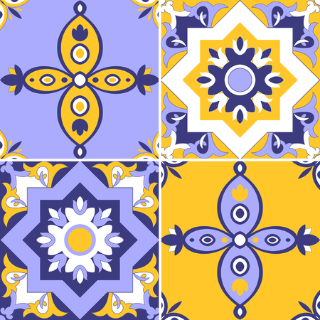 Collection of ceramic tiles in blue, yellow, and white colors seamless tiled pattern portuguese tiles azulejo, spanish, mexican ornaments set for wallpaper, background, fabric, and wrapping paper.