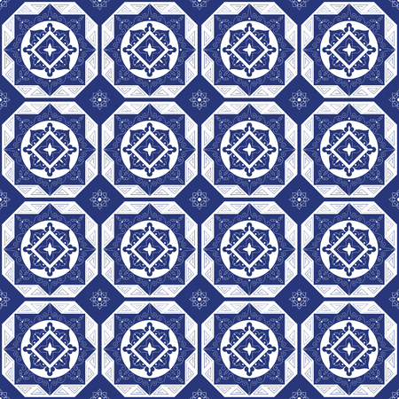 Holland blue white porcelain tile floor - mosaic tiled pattern. Abstract geometric seamless background. Ornament fabric, ceramic or surface design pattern vector.