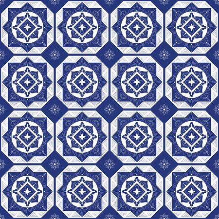 Blauw-witte porseleinen tegelvloer - mozaïek betegeld patroon. Abstracte geometrische naadloze achtergrond. Sieraadstof, keramiek of oppervlaktepatroon patroon vector.