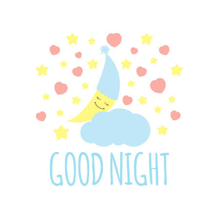 Cute half moon with cloud print vector. Good night background. Design for kids poster, illustration, fashion patches stickers, t-shirt apparel clothing or pillow fabric.