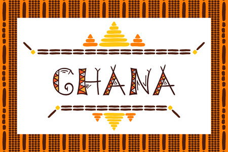 Ghana travel vector banner. Tribal african illustration. Tourist typography background design for souvenir card, sticker, label, magnet, postcard, stamp, fashion t-shirt print or poster.