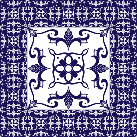 Flowers tiles floor pattern vector with ceramic tiles. Big tile in center is framed in small. Background with portuguese azulejo, mexican talavera, moorish spanish or italian majolica motifs.