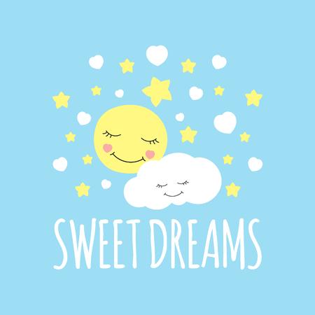 Netter Mond mit Wolkendruckvektor. Süßer Traum Hintergrund. Entwerfen Sie für Bettschlafplakat, Kissenillustration, Modefleckenaufkleber, T-Shirt Kleiderkleidung oder Kindergewebe.