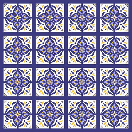 Tile pattern vector seamless. Azulejo portuguese tiles, mexican talavera, spanish, moroccan, italian majolica or arabic tiles design. Tiled print for wrapping, background or ceramic. Vectores
