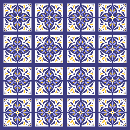 Tile pattern vector seamless. Azulejo portuguese tiles, mexican talavera, spanish, moroccan, italian majolica or arabic tiles design. Tiled print for wrapping, background or ceramic. 向量圖像