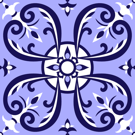 Italian tiles pattern vector with blue and white ornaments. Portuguese azulejo, mexican talavera, delft dutch or spanish motifs. Tiled floor background for ceramic or fabric design. Illustration
