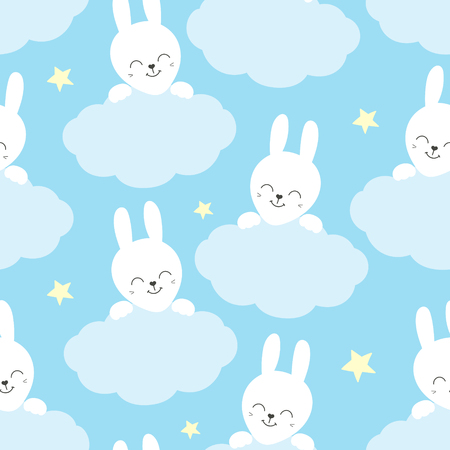 Cute baby pattern with little bunny. Cartoon animal kids print vector seamless. Sweet background with white rabbit and clouds for children fabric, home textile, nursery poster or birthday party.