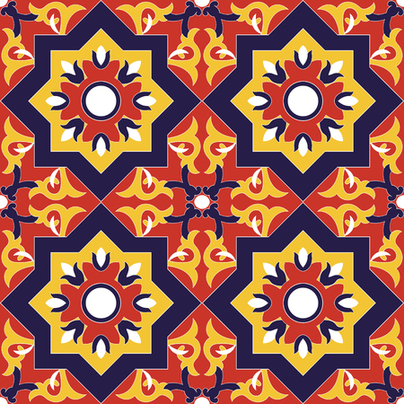 Spanish tile pattern vector seamless with flowers motifs. Azulejo portuguese tiles, mexican talavera, moroccan or italian majolica motifs.  Illustration