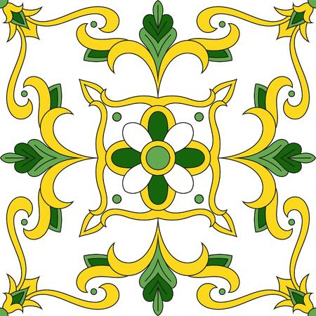 Italian tile pattern vector with floral ornaments. Portuguese azulejos, mexican talavera, spanish majolica or moroccan arabic motifs.  イラスト・ベクター素材