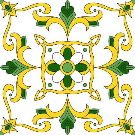 Italian tile pattern vector with floral ornaments. Portuguese azulejos, mexican talavera, spanish majolica or moroccan arabic motifs. Illustration
