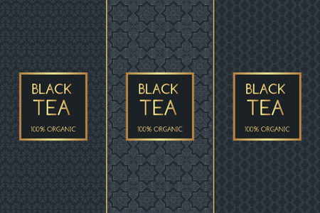 Tea Package set template vector. Luxury collection of seamless patterns for royal black tea label design. Tag for food products and drinks, spa cafe and coffee shop. Illustration