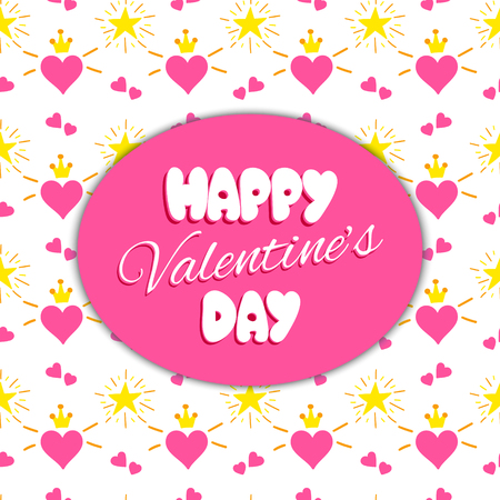 Happy Valentines day print template vector for cards and banner. Pink kids background with hearts in crowns and stars pattern. Teenager girl holiday design for party flyer, tag, label or invitation. Stock Vector - 94381242