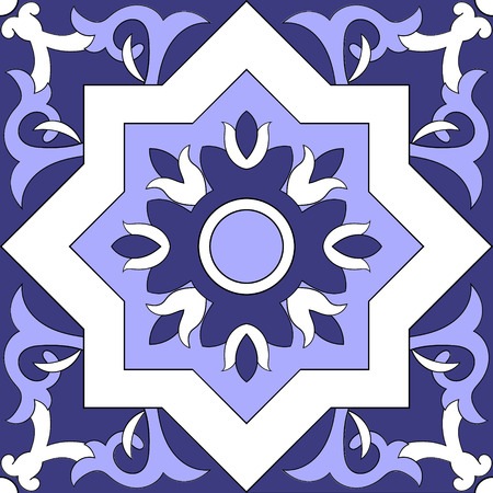 Tile pattern isolated design vector. Mexican tiles, Portuguese tiles, Azulejo, spanish or moroccan ornaments. Blue and white tiled pattern seamless