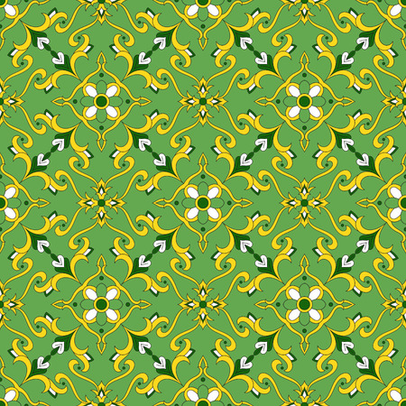 Mexican tiles pattern vector with flowers ornaments. Portugal azulejo, talaveta, spanish, moroccan or italian majolica motifs.