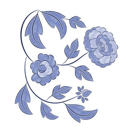Vintage floral embroidery pattern vector. Winter blue flower ornament stitch print isolated. Ethnic textile patch design for woman neckline tunic, fashion necklace, bedlinen, tablecloth or napkins.
