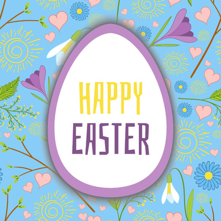 Happy Easter background vector with seamless spring flowers pattern. Floral print design for banner or greeting card template. Illustration