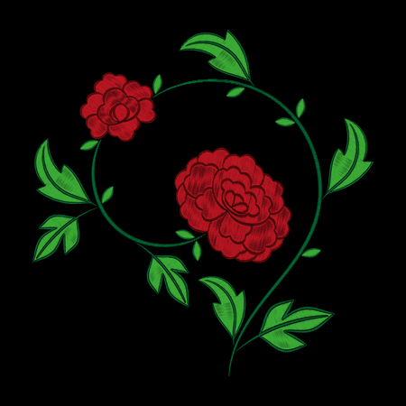 Vintage floral embroidery pattern vector. Red peony flower stitch ornament print isolated on black background. Textile patch design for bedlinen, tablecloth or napkins, pillow case, fashion clothing.