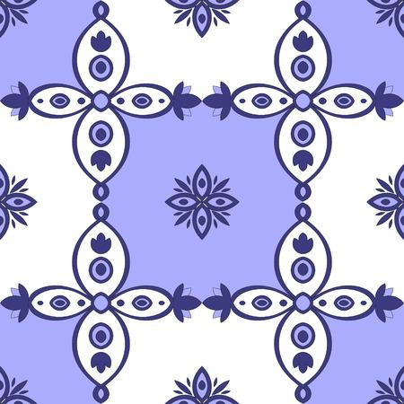 Tiled seamless pattern blue and white vector. Portuguese tiles - Azulejo. Tile pattern Portugal national vector. Illustration