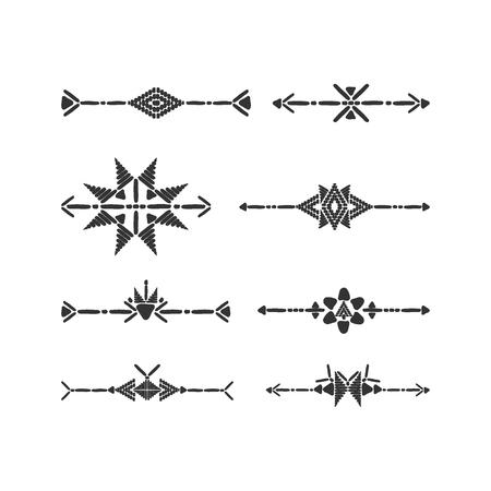 Tribal Border Set Vector Black White Elements In Hand Drawn