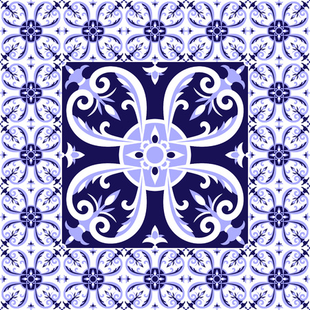 Arabic white blue tiles floor pattern vector with ceramic tiles. Big tile in center is framed in small. Background with portuguese azulejo, mexican talavera, spanish or italian majolica motifs. Illustration
