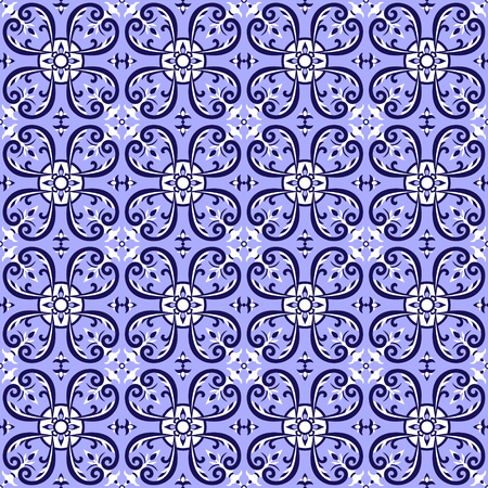 Spanish tiles pattern vector with blue and white ornaments. Portuguese azulejo, mexican talavera, delft dutch or italian motifs. Tiled floor background for ceramic or fabric design.