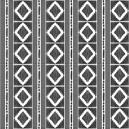 Tribal pattern vector seamless. Border african or native american print. Black white ethics texture. Repeating background for fabric, wallpaper, wrapping paper and boho card template. Vettoriali