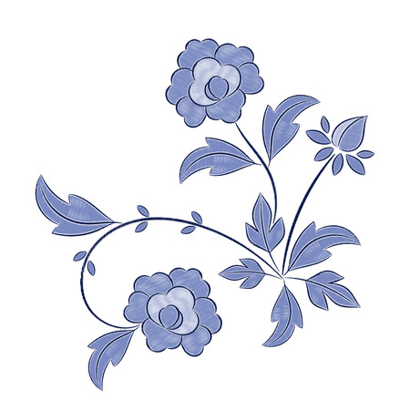 Vintage Floral Embroidery Pattern Vector Peony Blue Flower Ornament
