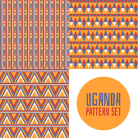 Collection of tribal pattern vector seamless. Set of Zulu or Uganda African basket prints design. Ethnics background for fabric, wallpaper, wrapping paper and boho card template.