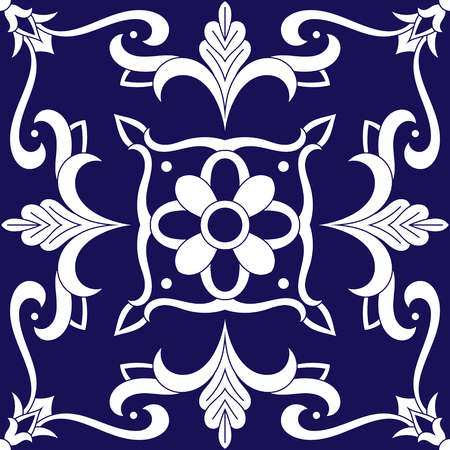 Tile pattern vector with blue and white ornaments. Portuguese azulejo, mexican talavera, spanish, italian majolica, delft dutch or moroccan motifs.