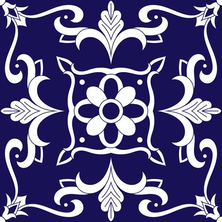 Tile pattern vector with blue and white ornaments. Portuguese azulejo, mexican talavera, spanish, italian majolica, delft dutch or moroccan motifs.