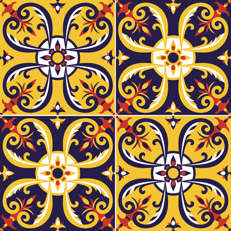 Tile pattern vector seamless. Portugal azulejos, mexican talavera, spanish, sicily italian majolica or moroccan arabic design. Floor tiles print for wrapping paper, wall ceramic or fabric. Stock fotó - 96828092