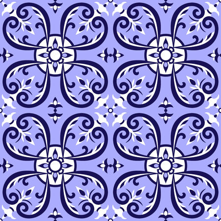 Portuguese tiles pattern vector with blue and white ornaments.