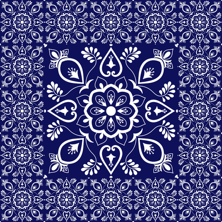 Retro tiles floor. Flowers pattern vector with ceramic texture. Big tile in center is framed.