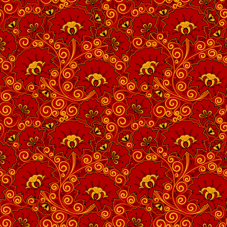 Russian khokhloma pattern seamless vector. Traditional embroidery flower ornament.