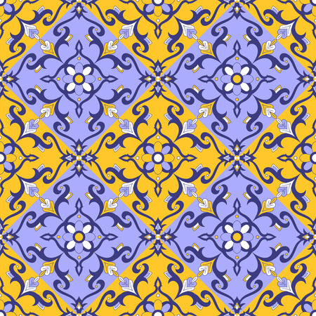 Italian tile pattern seamless vector with blue, yellow and white ornaments. Illustration